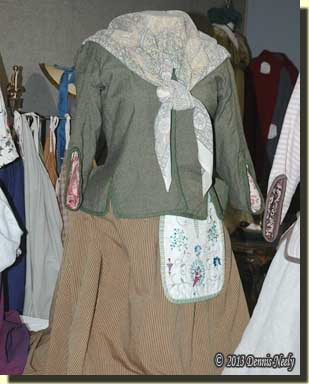 Eighteenth-century woman's dress and accesories.