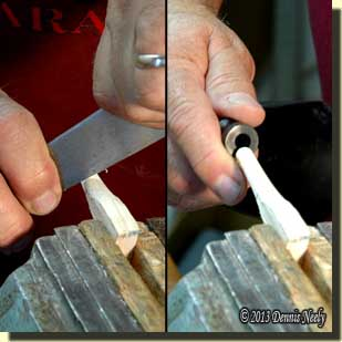 Using a butcher knife as a scraping tool.