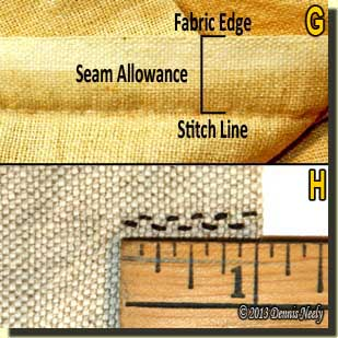 Photos showing seam allowance and stitch count.