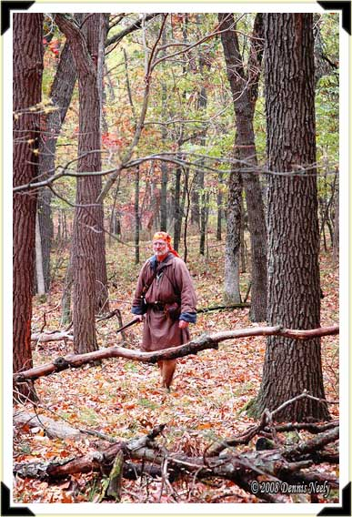 A traditional French woodsman in the forest.