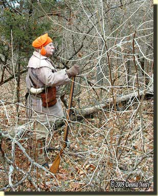 A traditional woodsman standing in the forest, gazing off at the River Raisin.