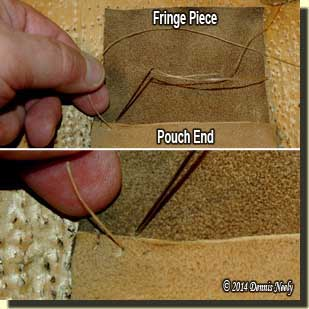 Adding an extra hole to whip-stitch the uncut fringe.