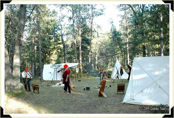 A traditional black powder hunting camp near the Huron National Forest.