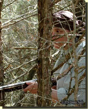 With her trade gun ready, the lady of the woods looks ahead.woods