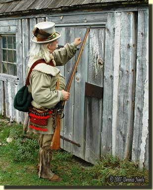A traditional woodsman knocking on a cabin door.