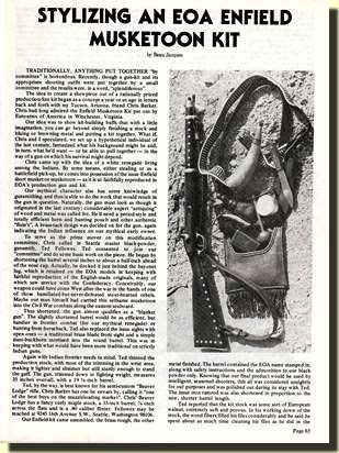 The title page from the article in MUZZLELOADER magazine.