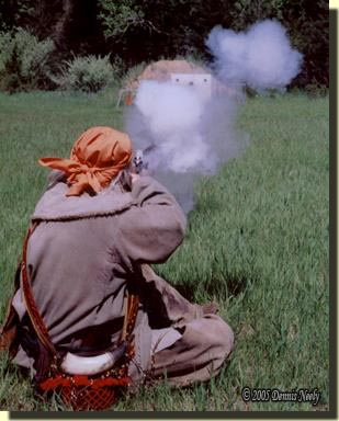 A traditional woodsman shooting from the sitting position.
