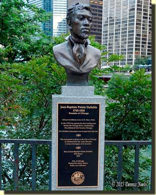 The bust of Jean Baptiste Point du Sable in Chicago.
