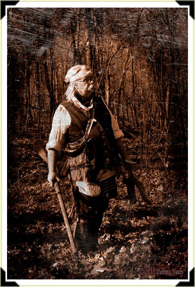 Daguerreotype of traditional hunter with a fox squirrel