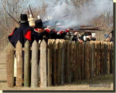 Re-enactors defending Frenchtown during the War of 1812.
