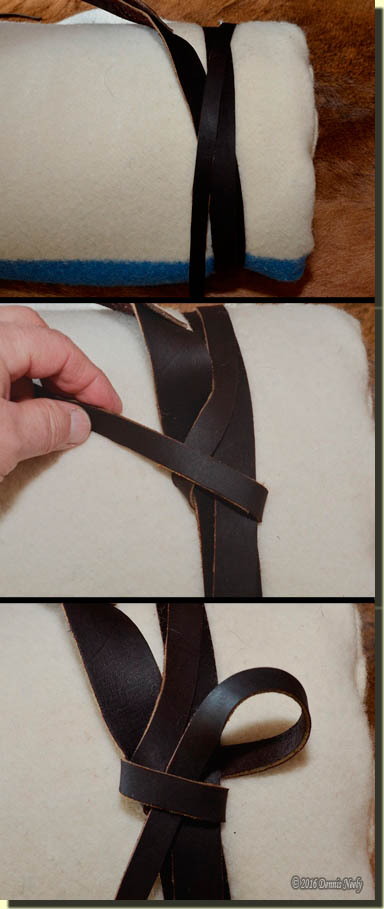 Three images detailing the tying of the clove hitch.