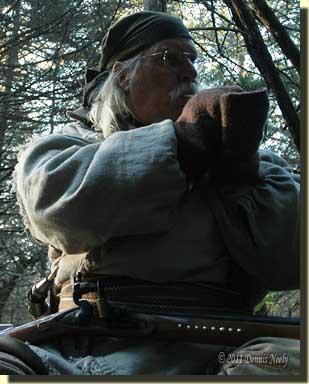 A trading post hunter calling wild turkeys.