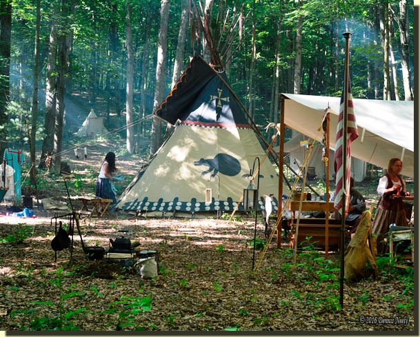 A tranquil Monday morning at the 2016 Old Northwest Primitive Rendezvous.
