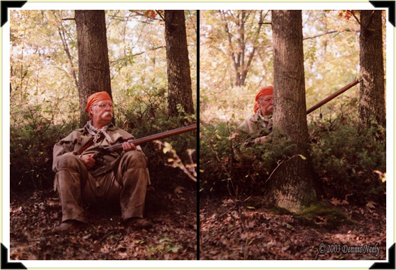 A composite picture showing a traditional woodsman in front of and behind an oak tree.