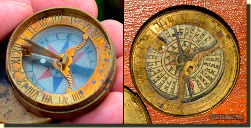 The reproduction compass next to the original.