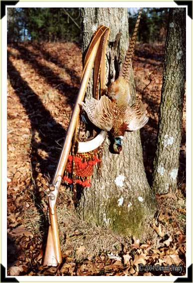 A ring-necked pheasant, Northwest trade gun, shot bag and horn.