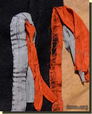 A comparison of wear to the leggin's silk ribbons.