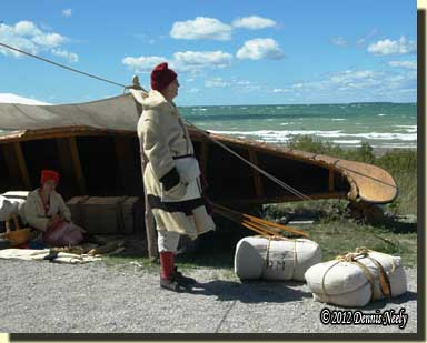 A French Canadian voyageur at Fort Michilimackinac.