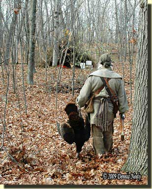 The traditional woodsman returning to a fall turkey camp.