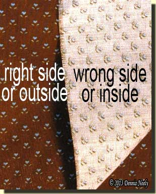 "A printed calico showing the difference between ""right"" and ""wrong"" sides."
