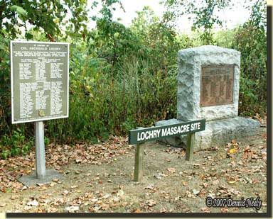 Historical plaque and stone monument for Lochery's Massacre. M