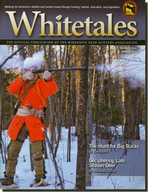 Whitetales magazine cover showing traditional hunter firing flintlock.