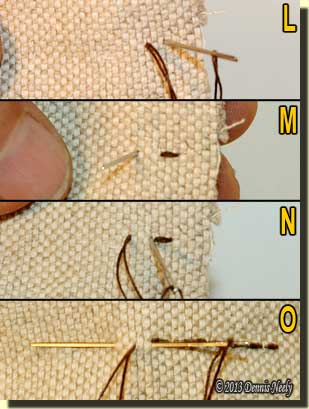 Four photos demonstrating the back stitch.