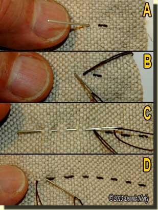 Photos showing running stitches.