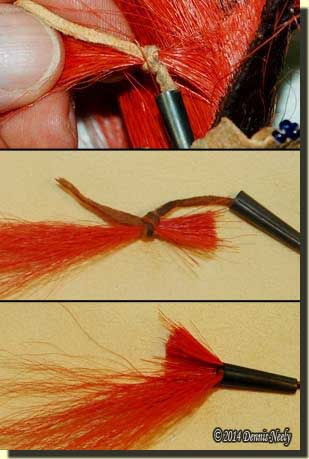 Tying off the hair, snipping the root and pulling the end into the metal cone.