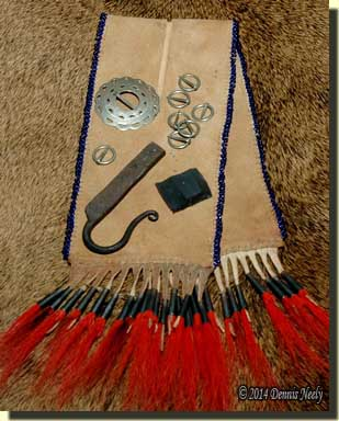 A buckskin split pouch patterened after the Andrew Foster pouch.