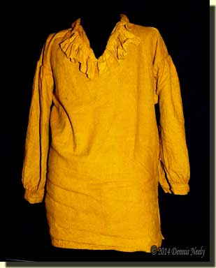 The bright yellow trade shirt before the walnut hull dye wash.