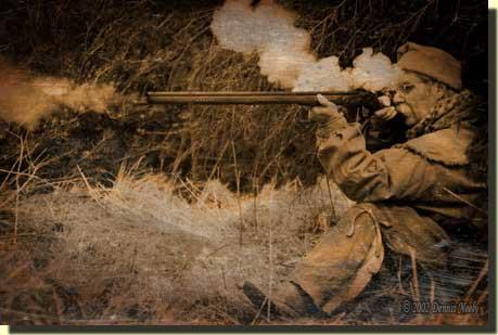 A daguerreotype of a woodsman shooting