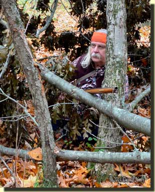A traditional woodsman sits in the midst of a downed treetop.