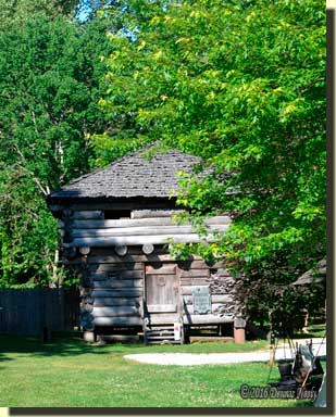 The two story log block house at the NMLRA primitive camp.