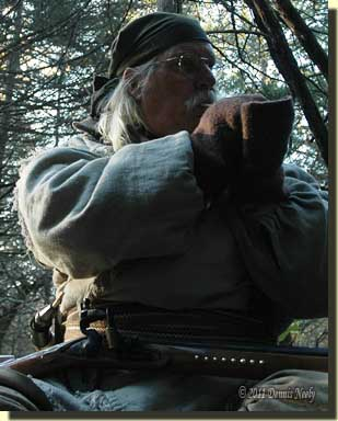 A trading post hunter calling wild turkeys.
