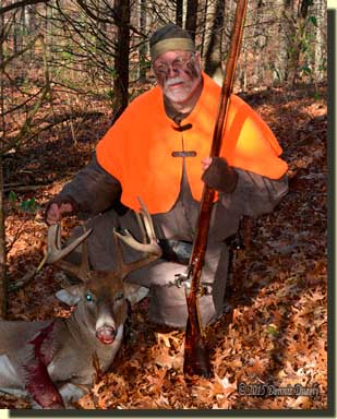 Traditional hunter, Darrel Lang, with a large buck.