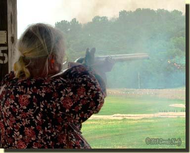 Msko-waagosh taking his shot at the gunmakers target.