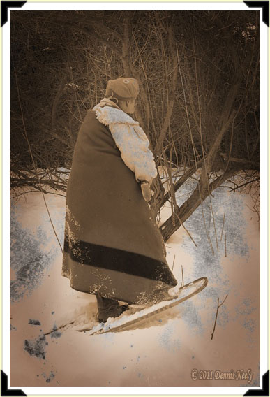 A traditional woodsman in deep snow.