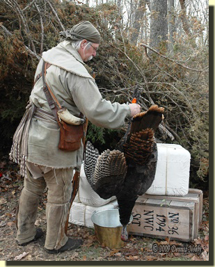 The hired trading post hunter returns to camp with a wild turkey. He placed it on a bale of trade goods that sat on Crate No. 36.